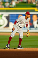 Wisconsin Timber Rattlers shortstop Orlando Arcia (2) on defense against the Great Lakes Loons at the Dow Diamond on May 4, 2013 in Midland, Michigan.  The Timber Rattlers defeated the Loons 6-4.  (Brian Westerholt/Four Seam Images)