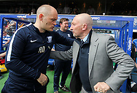 Preston North End's manager Alex Neil is greeted by his Queens Park Rangers' counterpart Ian Holloway<br /> <br /> Photographer Andrew Kearns/CameraSport<br /> <br /> The EFL Sky Bet Championship - Queens Park Rangers v Preston North End - Loftus Road - London<br /> <br /> World Copyright &copy; 2018 CameraSport. All rights reserved. 43 Linden Ave. Countesthorpe. Leicester. England. LE8 5PG - Tel: +44 (0) 116 277 4147 - admin@camerasport.com - www.camerasport.com