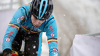 course recon &amp; training by Wout Van Aert (BEL) in the snow<br /> <br /> 2015 UCI World Championships Cyclocross <br /> Tabor, Czech Republic