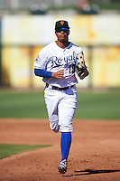 Surprise Saguaros Alfredo Escalera (15), of the Kansas City Royals organization, during a game against the Peoria Javelinas on October 20, 2016 at Surprise Stadium in Surprise, Arizona.  Peoria defeated Surprise 6-4.  (Mike Janes/Four Seam Images)