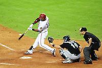 May 31, 2011; Phoenix, AZ, USA; Arizona Diamondbacks infielder Juan Miranda against the Florida Marlins at Chase Field. Mandatory Credit: Mark J. Rebilas-