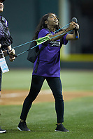 "Brooke Thomas of the ""Dash Pack"" helps launches t-shirts into the stands between innings of the Carolina League game between the Lynchburg Hillcats and the Winston-Salem Dash at BB&T Ballpark on May 1, 2018 in Winston-Salem, North Carolina. The Dash defeated the Hillcats 9-0. (Brian Westerholt/Four Seam Images)"
