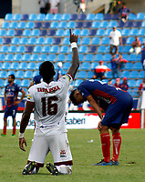 SANTA MARTA-COLOMBIA, 14-09-2019: Sergio Mosquera de Deportes Tolima, celebra el segundo gol anotado a Unión Magdalena, durante partido entre Unión Magdalena y Deportes Tolima, de la fecha 11 por la Liga Águila II 2019, jugado en el estadio Sierra Nevada de la ciudad de Santa Marta. / Sergio Mosquera of Deportes Tolima, celebrates the second scored goal to Union Magdalena, during a match between Union Magdalena and Deportes Tolima, of the 11th date for the Aguila Leguaje II 2019 played at the Sierra Nevada Stadium in Santa Marta city. Photo: VizzorImage / Gustavo Pacheco / Cont.