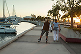 USA, California, San Diego, a couple rollerblades along the San Diego Bay waterfront