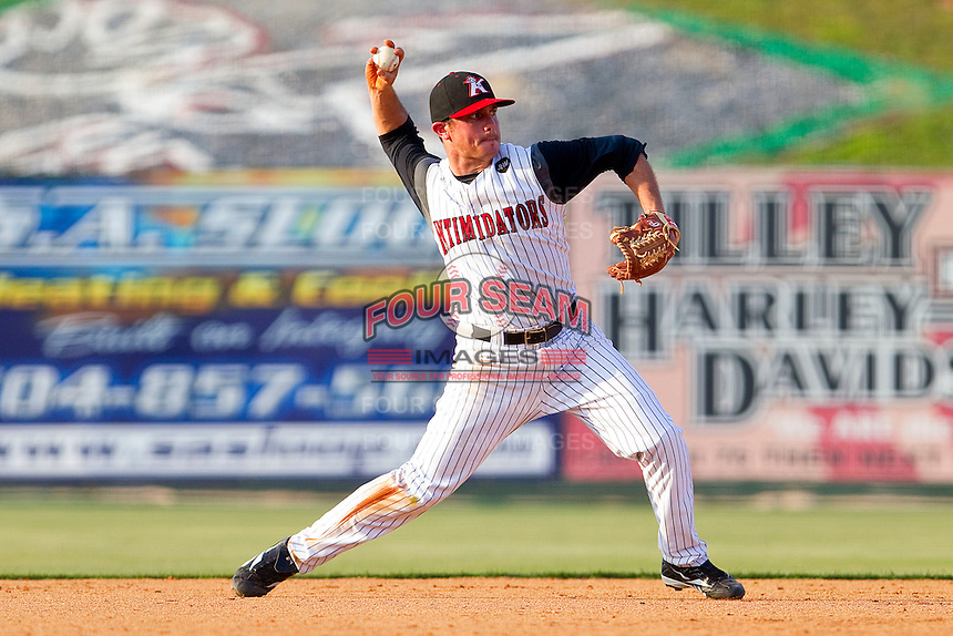 Shortstop Kyle Eveland #6 of the Kannapolis Intimidators makes a throw to first base against the Delmarva Shorebirds at Fieldcrest Cannon Stadium on May 22, 2011 in Kannapolis, North Carolina.   Photo by Brian Westerholt / Four Seam Images