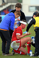 Laura Russell has her head taped up during the 2017 International Women's Rugby Series rugby match between England Roses and Canada at Rugby Park in Christchurch, New Zealand on Tuesday, 13 June 2017. Photo: Dave Lintott / lintottphoto.co.nz