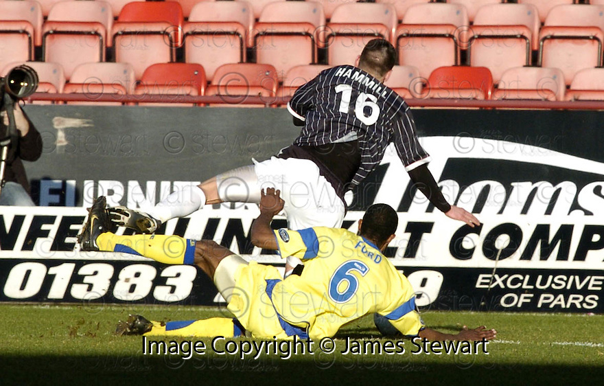 17/02/2007       Copyright Pic: James Stewart.File Name : sct_jspa10_dunfermline_v_kilmarnock.KILMARNOCK'S SIMON FORD HEADS FOR AN EARLY BATH AFTER BRINGING DOWN ADAM HAMILL....James Stewart Photo Agency 19 Carronlea Drive, Falkirk. FK2 8DN      Vat Reg No. 607 6932 25.Office     : +44 (0)1324 570906     .Mobile   : +44 (0)7721 416997.Fax         : +44 (0)1324 570906.E-mail  :  jim@jspa.co.uk.If you require further information then contact Jim Stewart on any of the numbers above.........