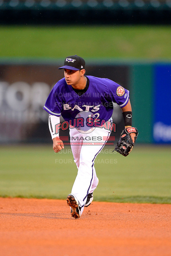 Louisville Bats second baseman Henry Rodriguez #12 during a game against the Indianapolis Indians on April 19, 2013 at Louisville Slugger Field in Louisville, Kentucky.  Indianapolis defeated Louisville 4-1.  (Mike Janes/Four Seam Images)