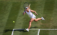 Dominika Cibulkova (SVK) during her match against Johanna Konta (GBR)<br /> <br /> Photographer Rob Newell/CameraSport<br /> <br /> Wimbledon Lawn Tennis Championships - Day 4 - Thursday 5th July 2018 -  All England Lawn Tennis and Croquet Club - Wimbledon - London - England<br /> <br /> World Copyright &not;&copy; 2017 CameraSport. All rights reserved. 43 Linden Ave. Countesthorpe. Leicester. England. LE8 5PG - Tel: +44 (0) 116 277 4147 - admin@camerasport.com - www.camerasport.com