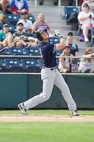 Dane McFarland (23) of the Hillsboro Hops at bat during a game against the Everett Aquasox at Everett Memorial Stadium in Everett, Washington on July 5, 2015.  Hillsboro defeated Everett 11-4. (Ronnie Allen/Four Seam Images)