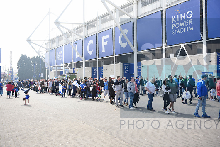 Leicester city fans queue for the new Leicester City Kit  at the King Power Stadium Leicester. Photo credit should read: Nathan Stirk/Sportimage<br /> <br /> <br /> <br /> <br /> <br /> <br /> <br /> <br /> <br /> <br /> <br /> <br /> <br /> <br /> <br /> <br /> <br /> <br /> <br /> <br /> <br /> <br /> <br /> <br /> <br /> <br /> <br /> <br /> <br /> <br /> - Newcastle Utd vs Tottenham - St James' Park Stadium - Newcastle Upon Tyne - England - 19th April 2015 - Picture Phil Oldham/Sportimage