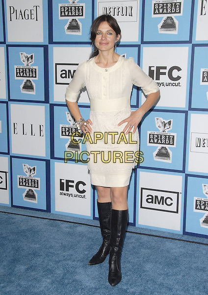 JUSTINE BATEMAN.attends The 2008 Independent Spirit Awards held in Santa Monica, California USA, February 23 2008                                                                     .full length hands on hips white cream dress black knee high boots.CAP/DVS.??Debbie VanStory/Capital Pictures