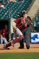 Gian Martellini (2) of the Boston College Eagles chases a ball in the game against the North Carolina State Wolfpack in Game Two of the 2017 ACC Baseball Championship at Louisville Slugger Field on May 23, 2017 in Louisville, Kentucky. The Wolfpack defeated the Eagles 6-1. (Brian Westerholt/Four Seam Images)
