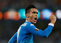 Napoli's Jose Callejon  celebrates after scoring his Second Goal  during the Europa  League Group D soccer match against Brugge  at the San Paolo  Stadium in Naples September 17, 2015