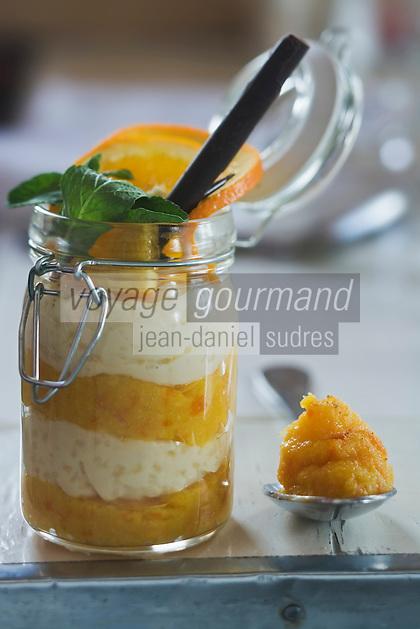 Europe/France/73/Savoie/Val d'Isère: Riz au lait en verrine, marmelade d'Orange amère Restaurant d'Altitude: La Fruitière