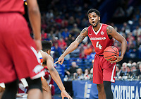 NWA Democrat-Gazette/CHARLIE KAIJO Arkansas Razorbacks guard Daryl Macon (4) directs a pass during the Southeastern Conference Men's Basketball Tournament quarterfinals, Friday, March 9, 2018 at Scottrade Center in St. Louis, Mo.