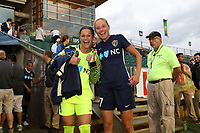 Cary, North Carolina  - Wednesday May 24, 2017: Sabrina D'Angelo and Courtney Niemiec prior to a regular season National Women's Soccer League (NWSL) match between the North Carolina Courage and the Sky Blue FC at Sahlen's Stadium at WakeMed Soccer Park. The Courage won the game 2-0.