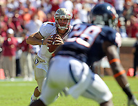 Oct 2, 2010; Charlottesville, VA, USA; Florida State Seminoles quarterback Christian Ponder (7) is pressured to throw during the game against the Virginia Cavaliers  at Scott Stadium. Florida State won 34-14.  Mandatory Credit: Andrew Shurtleff
