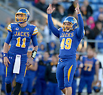 BROOKINGS, SD - OCTOBER 11:  Justin Syrovatka #49 from South Dakota State signals the kick is good against Missouri State in the first half of their game Saturday evening at Coughlin Alumni Stadium in Brookings. (Photo/Dave Eggen/Inertia)
