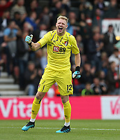Bournemouth's Aaron Ramsdale celebrates<br /> <br /> Photographer Rob Newell/CameraSport<br /> <br /> The Premier League - Bournemouth v West Ham United - Saturday 28th September 2019 - Vitality Stadium - Bournemouth<br /> <br /> World Copyright © 2019 CameraSport. All rights reserved. 43 Linden Ave. Countesthorpe. Leicester. England. LE8 5PG - Tel: +44 (0) 116 277 4147 - admin@camerasport.com - www.camerasport.com