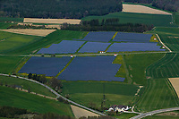 aerial view above solar energy farm Bavaria Germany