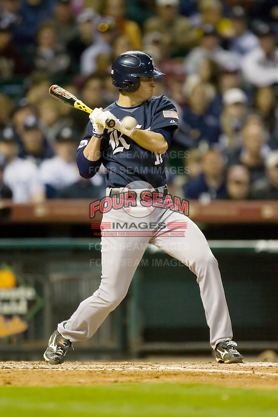 Rick Hauge #11 of the Rice Owls is hit by a pitch on his left forearm versus the Texas A&M Aggies in the 2009 Houston College Classic at Minute Maid Park February 28, 2009 in Houston, TX.  The Owls defeated the Aggies 2-0. (Photo by Brian Westerholt / Four Seam Images)
