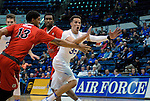 January 11, 2017:  Air Force forward, Hayden Graham #35, looks for an inbound pass during the NCAA basketball game between the Fresno State Bulldogs and the Air Force Academy Falcons, Clune Arena, U.S. Air Force Academy, Colorado Springs, Colorado.  Air Force defeats Fresno State 81-72.