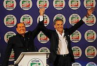 Manifestazione elettorale di Forza Italia a sostegno del candidato sindaco del centrodestra nelle prossime elezioni amministrative<br />  Silvio Berlusconi, Gianni Lettieri
