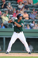 Outfielder Dreily Guerrero (26) of the Greenville Drive bats in a game against the Lexington Legends on Sunday, July 21, 2013, at Fluor Field at the West End in Greenville, South Carolina. Lexington won, 2-0. (Tom Priddy/Four Seam Images)