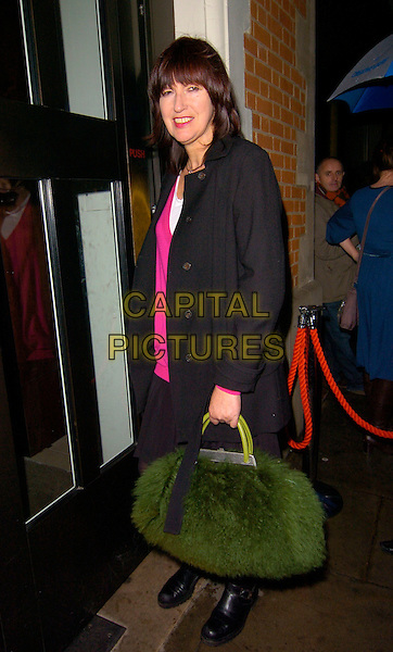 JANET STREET PORTER.Bryan Adams: Modern Muses - private view, The Hospital, London, England..November 27th, 2007.full length black biker boots grey gray coat green fur bag .CAP/CAN.©Can Nguyen/Capital Pictures