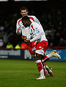 Yemi Odubade of Stevenage Borough  celebrates scoring their second goal during the Blue Square Premier match between Stevenage Borough and Gateshead at the Lamex Stadium, Broadhall Way, Stevenage on Saturday 14th November, 2009  .© Kevin Coleman 2009