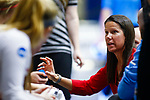 PENSACOLA, FL - DECEMBER 09: Head coach Jill Stephens of Florida Southern College speaks with her players during the Division II Women's Volleyball Championship held at UWF Field House on December 9, 2017 in Pensacola, Florida. (Photo by Timothy Nwachukwu/NCAA Photos via Getty Images)
