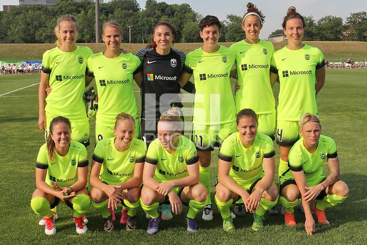 Piscataway, NJ - Sunday June 19, 2016: Seattle Reign starting eleven during a regular season National Women's Soccer League (NWSL) match between Sky Blue FC and Seattle Reign FC at Yurcak Field.