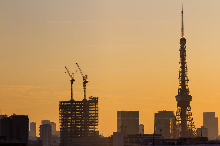 Tokyo Tower in silhouette at sunset. Tokyo, Japan. Friday October 27th 2017