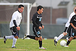 Torrance, CA 02/23/11 - Jose Robledo (Bishop Montgomery #7) and Jovani Zayas (Salesian #10) in action during the second round CIF playoffs between Bishop Montgomery and Salesian.