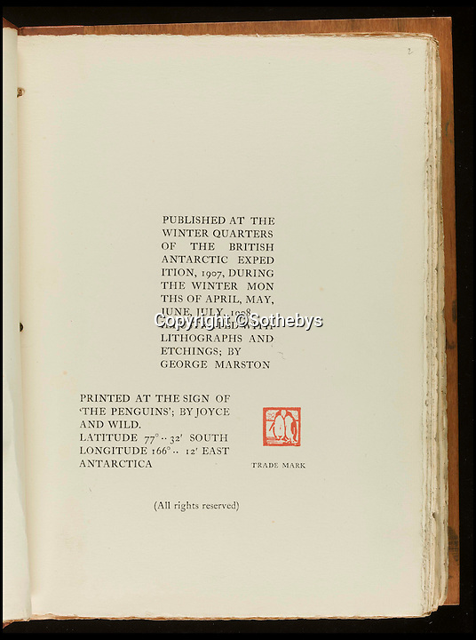 BNPS.co.uk (01202 558833)<br /> Pic: Sothebys/BNPS<br /> <br /> ***Please Use Full Byline***<br /> <br /> An inner page of the book listing publishing details.<br /> <br /> An incredibly rare copy of the first book published on the Antarctic continent by Ernest Shackleton's expedition team has emerged for sale.<br /> <br /> Experts have described the copy of Aurora Australis as the finest in existence - and have tipped it to fetch upwards of 60,000 pounds when it goes under the hammer.<br /> <br /> The book was produced by Shackleton's men in 1908 during the Nimrod Expedition as a way to stave off boredom during the long winter nights at their remote base camp at Cape Royds on Ross Island.