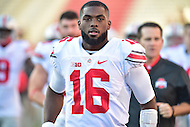 College Park, MD - NOV 12, 2016: Ohio State Buckeyes quarterback J.T. Barrett (16) jogs onto the field during the game between Maryland and Ohio State at Capital One Field at Maryland Stadium in College Park, MD. (Photo by Phil Peters/Media Images International)