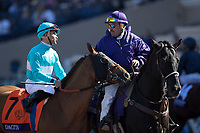 DEL MAR, CA - NOVEMBER 04: Joel Rosario, aboard Dacita #7, talks to a man before the start of the Breeders' Cup Filly & Mare Turf on Day 2 of the 2017 Breeders' Cup World Championships at Del Mar Thoroughbred Club on November 4, 2017 in Del Mar, California. (Photo by Alex Evers/Eclipse Sportswire/Breeders Cup)