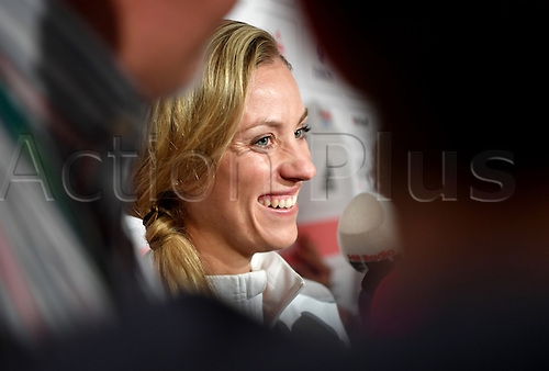 14.08.2016. Rio de Janeiro, Brazil. Silver medalist, tennis player Angelique Kerber of Germany, talks to the media at the Deutsche Haus (German House) in Barra during the Rio 2016 Olympic Games in Rio de Janeiro, Brazil, 14 August 2016.