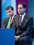 © Joel Goodman - 07973 332324 . 23/09/2013 . Brighton , UK . Shadow Foreign Secretary , Douglas Alexander and Labour Party leader , Ed Miliband during the Britain's Global Role session . Day 2 of the Labour Party 's annual conference in Brighton . Photo credit : Joel Goodman