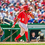 1 June 2014: Washington Nationals outfielder Denard Span in action against the Texas Rangers at Nationals Park in Washington, DC. The Rangers shut out the Nationals 2-0 to salvage the third the third game of their 3-game inter-league series. Mandatory Credit: Ed Wolfstein Photo *** RAW (NEF) Image File Available ***