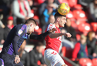 Fleetwood Town's Ched Evans in action with Luton Town's Matty Pearson <br /> <br /> Photographer Mick Walker/CameraSport<br /> <br /> The EFL Sky Bet League One - Fleetwood Town v Luton Town - Saturday 16th February 2019 - Highbury Stadium - Fleetwood<br /> <br /> World Copyright © 2019 CameraSport. All rights reserved. 43 Linden Ave. Countesthorpe. Leicester. England. LE8 5PG - Tel: +44 (0) 116 277 4147 - admin@camerasport.com - www.camerasport.com
