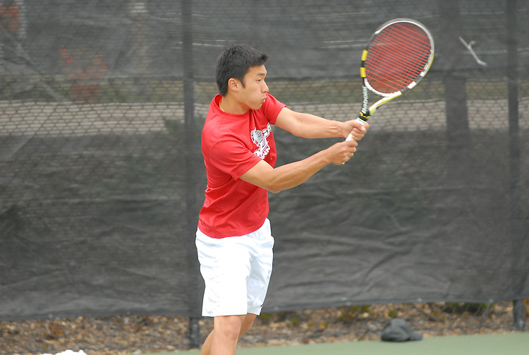 April 25, 2012; San Diego, CA, USA; Gonzaga Bulldogs athlete Zhia Hwa Chong during the WCC Tennis Championships at the Barnes Tennis Center.