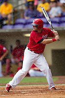 Stony Brook Seawolves first baseman Kevin Courtney #25 at bat during the NCAA Super Regional baseball game against LSU on June 9, 2012 at Alex Box Stadium in Baton Rouge, Louisiana. Stony Brook defeated LSU 3-1. (Andrew Woolley/Four Seam Images)