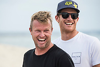 Namotu Island Resort, Nadi, Fiji (Wednesday, June 8 2016): Taj Burrow (AUS) and Bede Durbidge (AUS) - The Fiji Pro, stop No. 5 of 11 on the 2016 WSL Championship Tour, was called off today due to the lack of contestable swell at Cloudbreak. The contest is facing a number of lay days due to the small surf conditions.  The surprise of the day was the return of Joel parkinson (AUS) to the island. His injury wasn't as bad as first thought but he is still out of action for at least 3 weeks.<br /> He'd returned to enjoy the party for Taj Burrow (AUS) which got back into full swing as soon as he landed. Photo: joliphotos.com