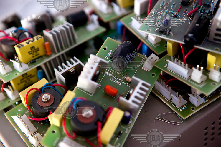 A pile of circuit boards in a class at the Tilonia village Barefoot College (run by an NGO that provides education in rural communities).