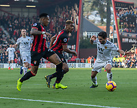 Wolverhampton Wanderers' Joao Moutinho (right) under pressure from Bournemouth's Nathaniel Clyne (left) & Jordon Ibe (centre)<br /> <br /> Photographer David Horton/CameraSport<br /> <br /> The Premier League - Bournemouth v Wolverhampton Wanderers - Saturday 23 February 2019 - Vitality Stadium - Bournemouth<br /> <br /> World Copyright © 2019 CameraSport. All rights reserved. 43 Linden Ave. Countesthorpe. Leicester. England. LE8 5PG - Tel: +44 (0) 116 277 4147 - admin@camerasport.com - www.camerasport.com