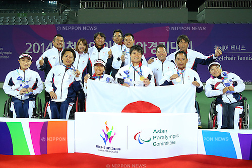 Japan team group (JPN),<br /> OCTOBER 23, 2014 -  WheelChair Tennis : <br /> Men's Singles Victory ceremony<br /> at Yeorumul Tennis Courts<br /> during the 2014 Incheon Asian Para Games <br /> in Incheon, South Korea. <br /> (Photo by Shingo Ito/AFLO SPORT)