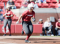NWA Democrat-Gazette/CHARLIE KAIJO Arkansas Razorbacks catcher Taylor Greene (11) sprints to second during a softball match, Sunday, October 28, 2018 at Bogle Park, University of Arkansas in Fayetteville.<br />