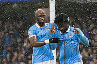 Wilfried Bony celebrates scoring his sides first goal during the Barclays Premier League Match between Manchester City and Swansea City played at the Etihad Stadium, Manchester on 12th December 2015